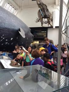 Children and Athena Tuition tutor looking at dinosaurs at the Natural History Museum in London